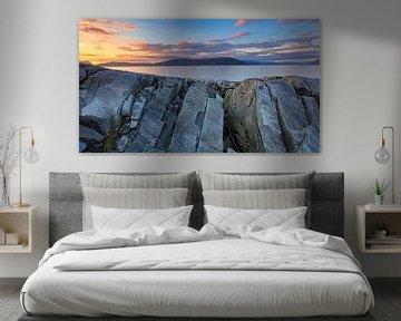 Panorama foto van de zonsondergang boven Sogne Fjord in Noorwegen van Bas Meelker