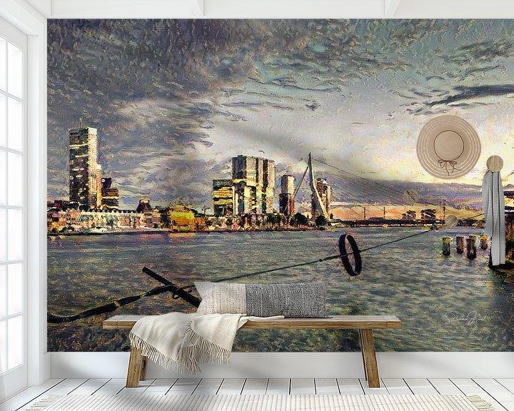 Sfeerimpressie behang: Stijlvol Schilderij Rotterdam: Ruige Impressie van de maas en skyline Rotterdam van Slimme Kunst.nl