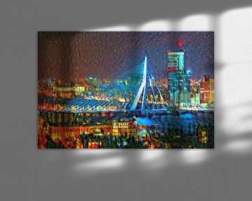 Kleurrijk Schilderij Erasmusbrug Rotterdam in de Avond