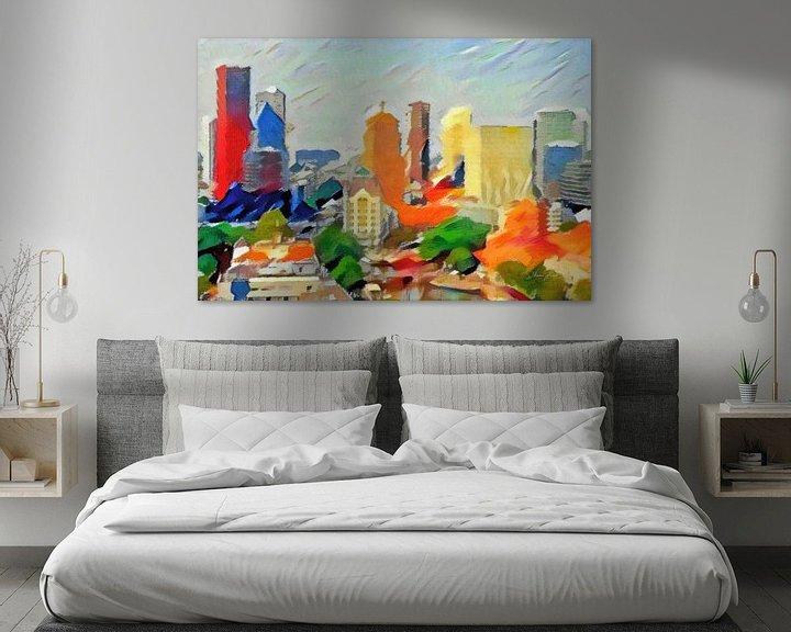 Sfeerimpressie: Schilderij Abstracte Skyline Rotterdam van Slimme Kunst.nl