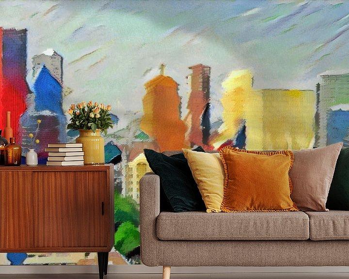 Sfeerimpressie behang: Schilderij Abstracte Skyline Rotterdam van Slimme Kunst.nl