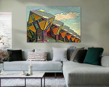 Würfelhäuser Rotterdam im Stil von Picasso von Slimme Kunst.nl