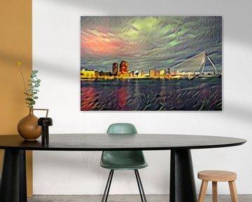 Kleurrijk schilderij Rotterdam: Nieuwe Maas Rotterdam met Erasmusbrug