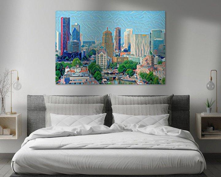 Sfeerimpressie: Kunstwerk Rotterdam: Skyline van Rotterdam geschilderd door algoritme van Slimme Kunst.nl