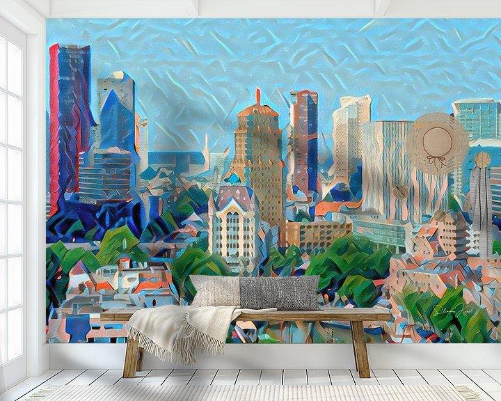 Sfeerimpressie behang: Kunstwerk Rotterdam: Skyline van Rotterdam geschilderd door algoritme van Slimme Kunst.nl