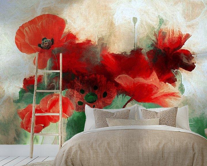 Sfeerimpressie behang: Poppy Abstract van Jacky Gerritsen