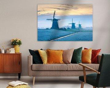 De drie windmolens van Stompwijk tijdens een prachtige winterse ochtend van Eelco de Jong