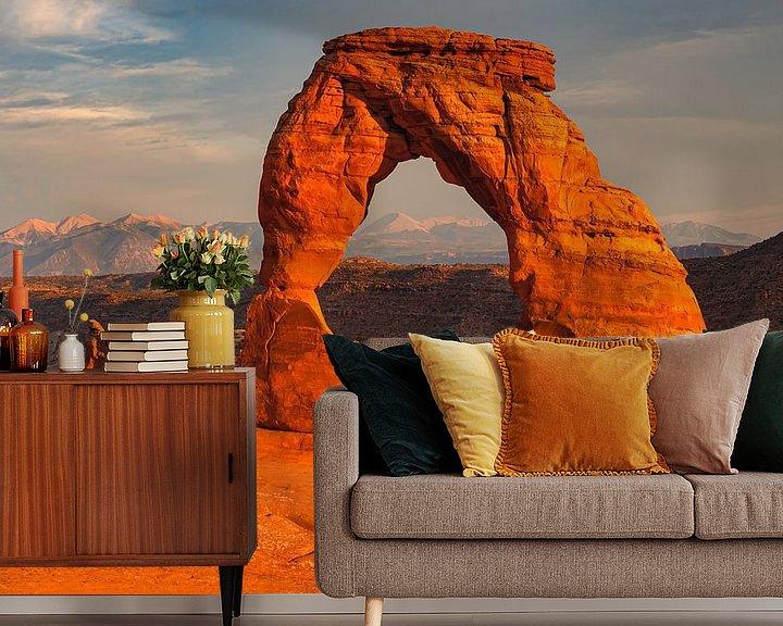 Sfeerimpressie behang: Delicate Arch in Arches National Park, Utah, USA van Henk Meijer Photography