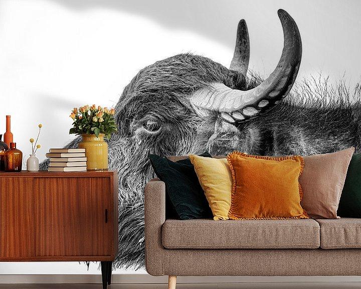 Sfeerimpressie behang: Waterbuffel van Jaap Tempelman
