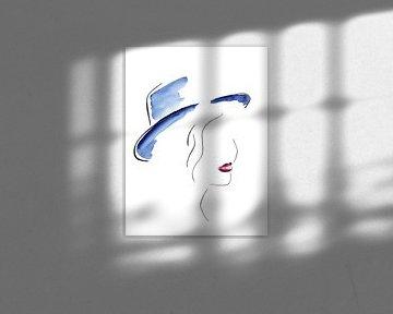 Die Dame mit dem blauen Hut von Natalie Bruns