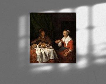 Mann und Frau bei einer Mahlzeit, Gabriël Metsu