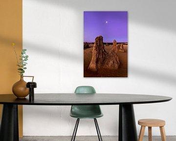 Bijzondere rots formaties in Pinnacles desert national park bij zonsondergang net buiten Perth in Au van Guido Boogert