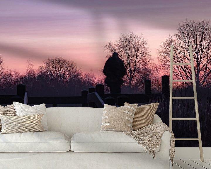 Sfeerimpressie behang: roze lucht van Tania Perneel