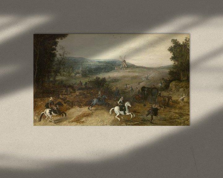 Beispiel: Landschaft mit Reisenden, von Räubern ausgeraubt, Sebastiaen Vrancx