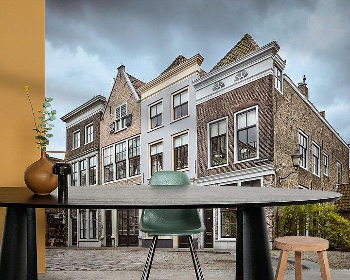 Sfeerimpressie behang: Grotekerksbuurt, Dordrecht van David Bleeker