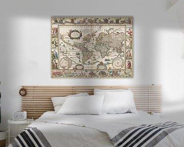 Weltkarte mit dekorativen Rändern, Jan Aertse van den Ende