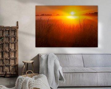 Een prachtige zonsopkomst en een adembenemend landschap. van Eelco de Jong