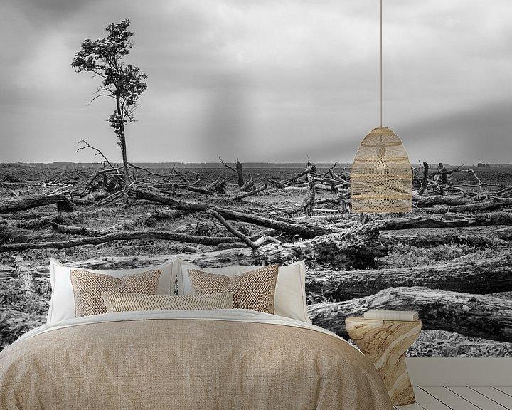 Sfeerimpressie behang: Eenzame boom Oostvaardersplassen van Catstye Cam / Corine van Kapel Photography
