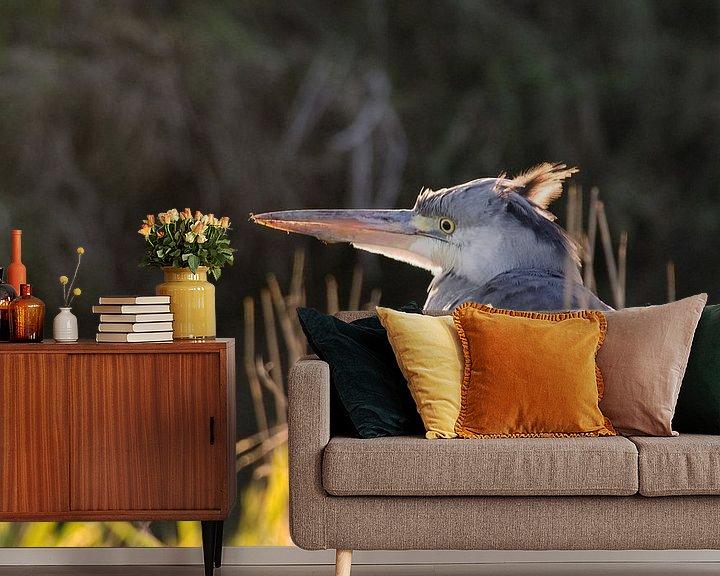 Beispiel fototapete: Der Blaureiher ist im Sonnenschein von Petra Vastenburg