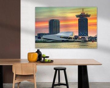 Zonsopkomst boven 't IJ bij Amsterdam van Fotografiecor .nl
