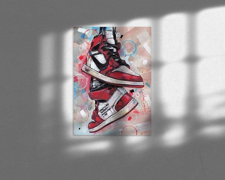 Beispiel: Nike air Jordan 1 Retro High Off-White Chicago Malerei. von Jos Hoppenbrouwers