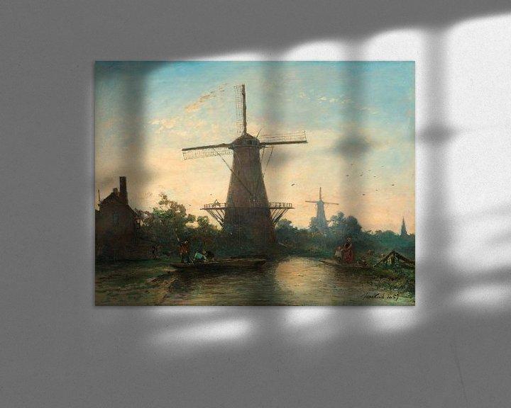 Beispiel: Windmühlen bei Rotterdam, Johan Barthold Jongkind
