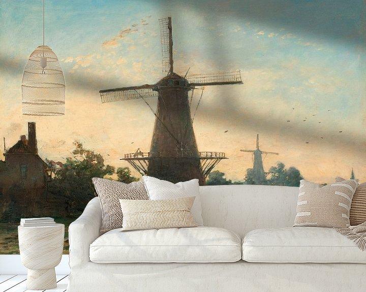 Beispiel fototapete: Windmühlen bei Rotterdam, Johan Barthold Jongkind