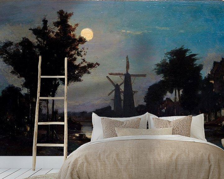 Beispiel fototapete: Mondschein auf dem Kanal, Johan Barthold Jongkind
