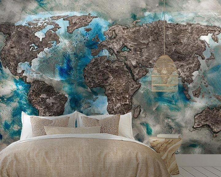 Sfeerimpressie behang: Wereldkaart van Beton van Wereldkaarten.Shop