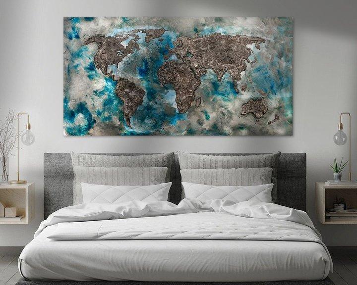 Sfeerimpressie: Wereldkaart van Beton van Wereldkaarten.Shop