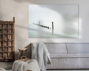 Rivierlandschap in de mist (Wageningen) van Eddy Westdijk