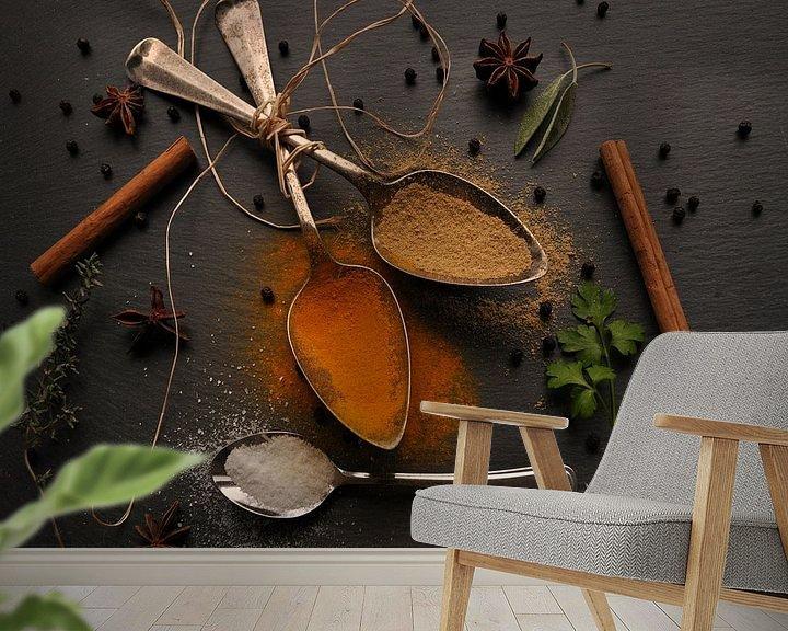 Sfeerimpressie behang: Kruiden en Specerijen van Anita Visschers