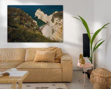 Landschap van de kliffen van Normandië bij Etretat. van Paul van Putten