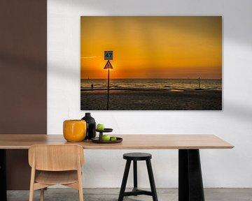 Strand met zon geblokkeerd door bord van Fred Leeflang