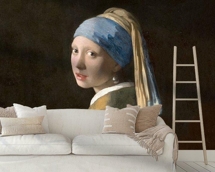Beispiel fototapete: Mädchen mit Pearl 2, liegend.