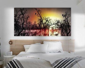 Rabenpaar bei Sonnenaufgang im Moor von Max Steinwald