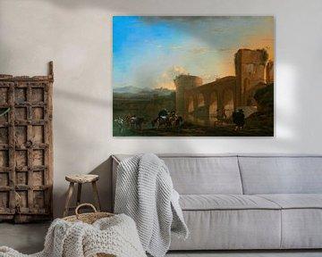 Der Tiber mit der Ponte Molle bei Sonnenuntergang, Jan Asselijn