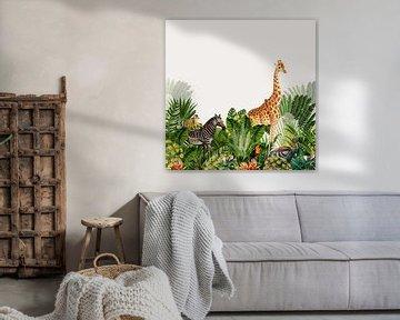 Böhmisches Bild, botanisch mit Dschungeltieren wie Zebra und Giraffe von Studio POPPY