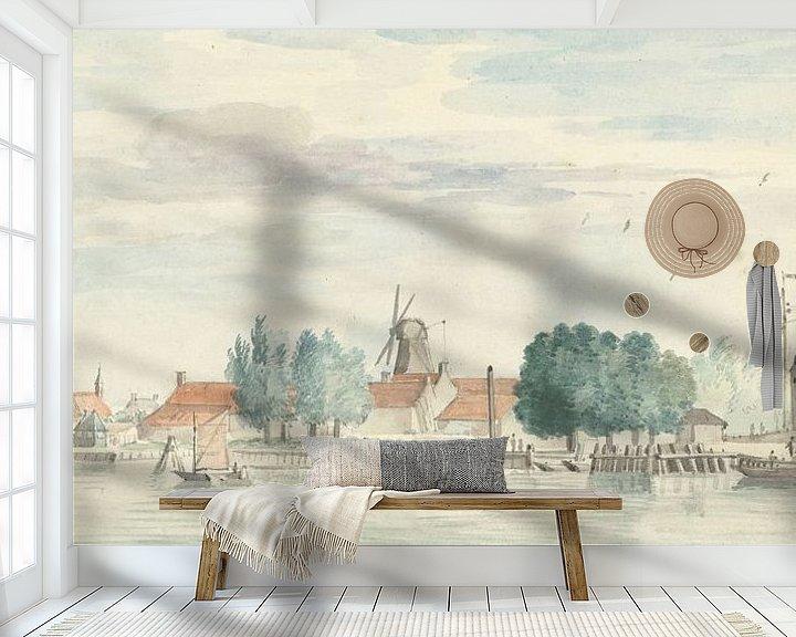 Beispiel fototapete: Blick auf Dordrecht mit dem Rietdijk-Tor und den Windmühlen, Aert Schouman