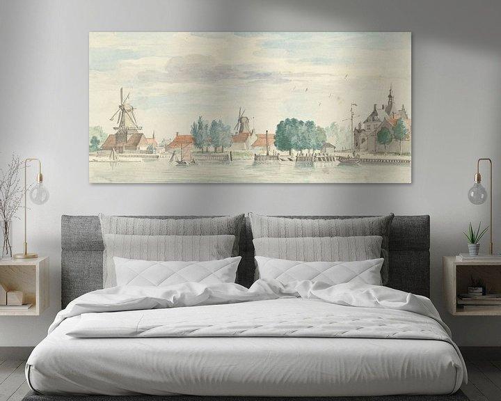 Beispiel: Blick auf Dordrecht mit dem Rietdijk-Tor und den Windmühlen, Aert Schouman