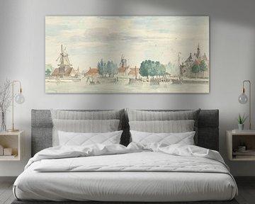 Gezicht op Dordrecht met de Rietdijkspoort en windmolens, Aert Schouman