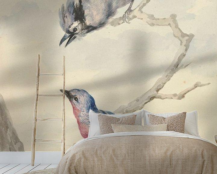 Beispiel fototapete: Zwei Vögel: ein blauer Eichelhäher und eine violette Brustkotinga, Aert Schouman