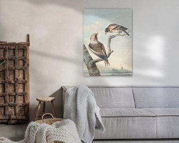 Zwei Vögel: ein Apfel-Buchfink und ein Bergfried, Aert Schouman