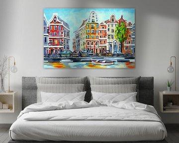 Amsterdam : un paysage urbain joyeux sur Vrolijk Schilderij