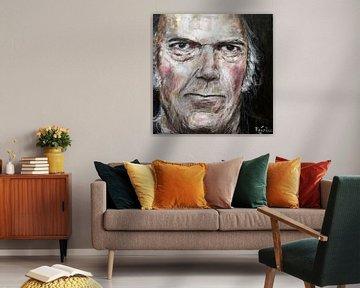 Porträt von Neil Young. von Therese Brals