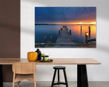 Een spectaculaire zonsondergang  boven het Lauwersmeer van Bas Meelker