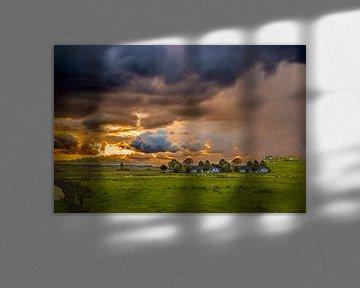 Holländische Wiese mit Wolken von Fred Leeflang
