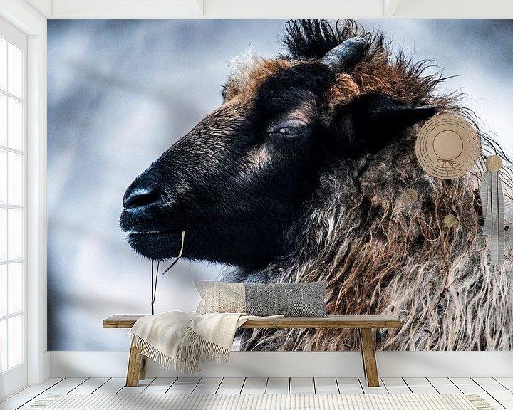 Beispiel fototapete: Ziege im Winter von Fred Leeflang