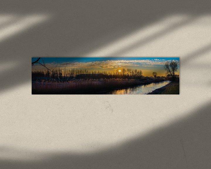 Beispiel: Panorama des gefrorenen Flusses am Morgen von Fred Leeflang