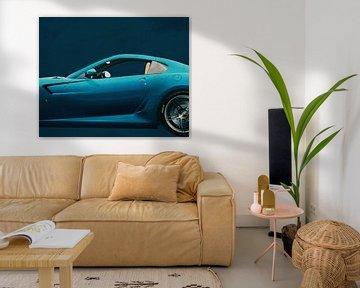 Schilderij van een Ferrari 599 GTB Fiorano 2006 Blauw